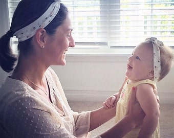 Mommy & Me-LOVE YOUR FAVORITE Design-Handmade Adjustable Knotted Headbands matching headbands for you and your little one.