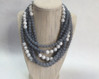 Grey and White Statement Necklace, Multi Strand Beaded Necklace, Chunky Beaded Choker, Multi Layer Necklace, Gift for Women, Wedding Jewelry