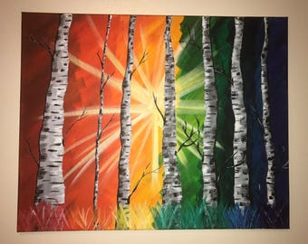 "Rainbow Burst Birches Acrylic Painting 16"" x 20"" Multi Color Forest Sunlight Canvas"