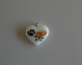 Dog Memorial Necklace, Fused Glass Heart, Dog Paw, Flowers, Silver Mesh Chain