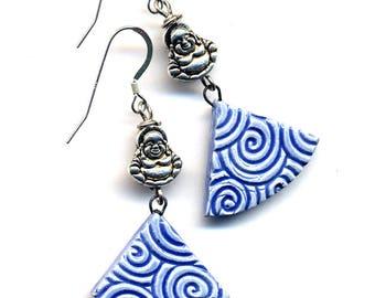 Buddha Sterling Silver Periwinkle Blue Porcelain Earrings, Handmade Clay Sterling Buddhist Earrings, Ceramic 925 Silver Earrings,  Annaart72