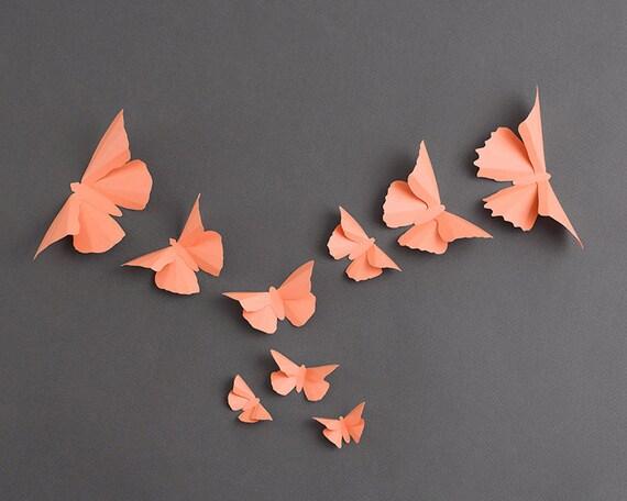 3D papillon Art mural: Silhouettes papillon corail papier