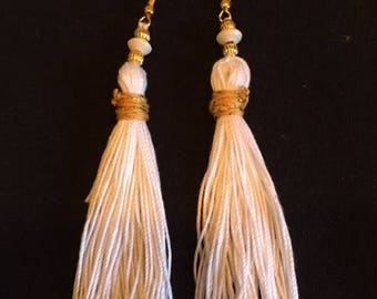 White and Gold Tassel Earrings