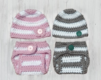 Crochet Diaper Cover Pattern and Crochet Hat Pattern - Newborn Photo Prop - Soaker Pattern - Crochet Patterns by Deborah O'Leary