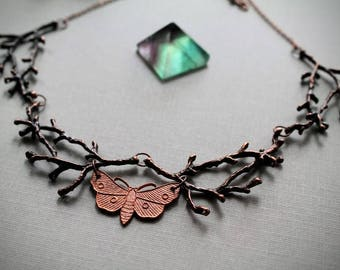 Nocturnal- Moth and Branch Necklace, Insect Collar, Metal Twig Choker, Copper Bug Jewelry, Elven Woodland Necklace, Rustic Wedding Jewellery