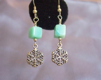 Snowflakes and Peruvian Opal semi precious stone Earrings