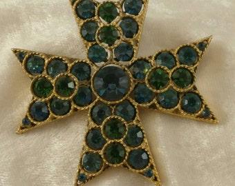 Vintage Lisner Emerald Green Rhinestone Brooch, Signed