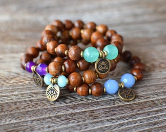 Pentagram Wood Bracelet  | Evil Eye Bracelet