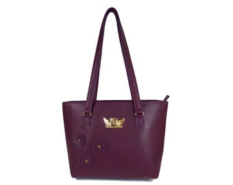 Midnight Purple handmade small leather tote bag handbags