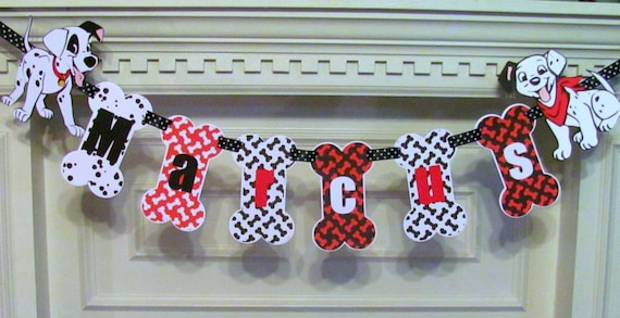 Doggy Birthday Banner with Name Banner and Puppy Dogs Dog Lover Banner