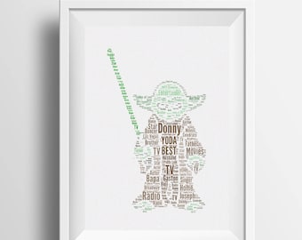 Framed word art Yoda - Star Wars inspired word art - image of Yoda - fully personalised Gift for Star Wars fan, birthday gift, Christmas