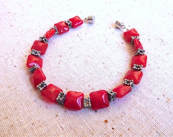 Scarlet Red Bracelet with Magnetic Clasp (Item S 37)
