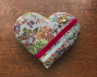Handmade Valentines Day Tapestry Decorative Heart Shape Floral Throw Pillow with Repurposed Button and Ribbon
