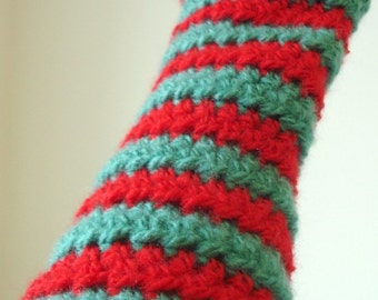 Aqua and Red Striped Crocheted Arm Warmers (size M-L) (SWG-AW-MJ04)