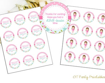 INSTANT DOWNLOAD - Spa Thank You Label - Printable - DIY - Spa Birthday Party - Spa Thank You - Spa Party Thank You - Spatacular - Floral