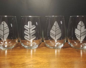 Fall/Autumn Leaves Stemless Wine Glasses - Set of 4