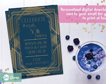 Personalised Gatsby 1920's Flapper Invite • Navy/Gold Gatsby themed Invitation • Digital Download • Customised Personalised • Printable