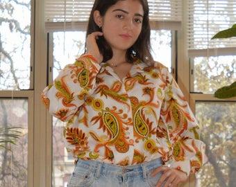 vintage 70s groovy printed shirt