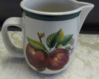 China Pearl Casuals Apple Creamer - Apple Kitchen - Harvest Kitchen - Fruit Motif - Apple Decor
