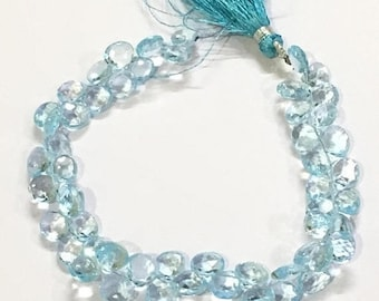 Exclusive Quality Sky Blue Topaz faceted Briolette Heart 7 - 8 mm approx , 8 inch strand