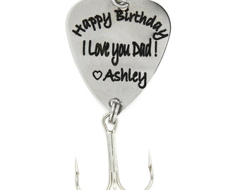 """LGU(TM) Personalized Hook Fishing Lure Custom Fishing Lure - """"Happy Birthday I Love you Dad!"""" with Your Name"""