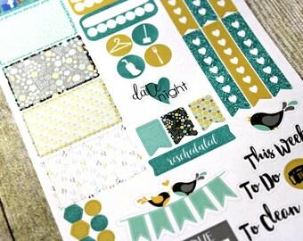 Planner Stickers Sampler - Happy Planner - Day Designer - Functional stickers - Fits Erin Condren - Mint Yellow - Sticker Sampler