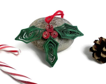 Christmas holly - Christmas ornament - Holly ornament - Quilling ornament -Christmas decoration - Paper quilling decoration - Christmas gift