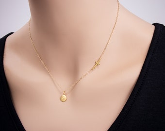 Small Sideways Cross with 24k Gold Initial Letter Necklace, Initial Necklace, Personalized Necklace, Name, Gold Necklace, Circle Disc Charm