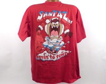 Ugly Christmas Sweater Vintage Shirt Tree Santa taz men's size M