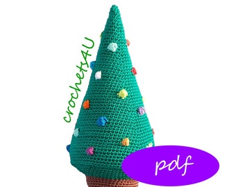 crochet pattern christmas tree with baubles, crocheted christmas tree, crochet christmas decoration