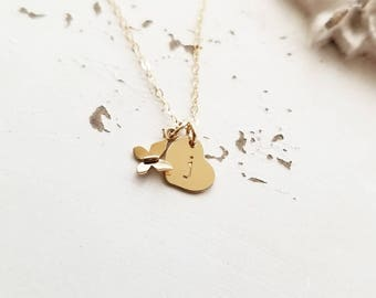 Tiny Butterfly Necklace, Flower Girl Gift, Sterling Silver, Gold Fill, Personalized Initial Charm Necklace, Heart Charm, Children's Necklace