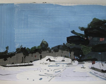 Homestead in January, Original Winter Landscape Collage Painting on Paper, Stooshinoff