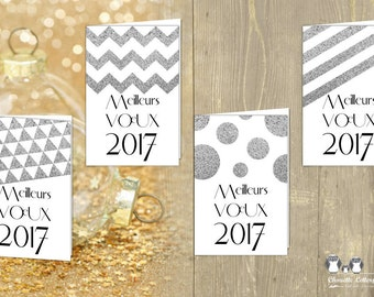 4 Greeting Cards / GEOMETRIC CHIC SILVER, round, zigzag, triangles, lines, Scandinavian / pdf downloadable / printable / 10x15cm