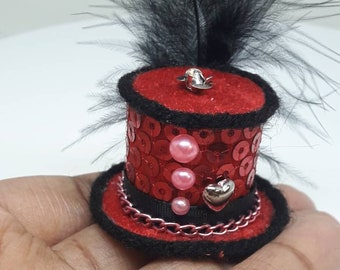 Love Fascinator Tiny Top Hat  Red Pink Valetine's Day