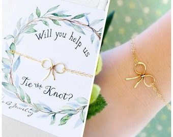 Bow bracelet, dainty bow jewelry for bridesmaids, be my bridesmaid card, bridesmaid proposal, wedding jewelry, bridal gifts