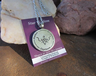 Star Wisdom~Capricorn Zodiac Pendant~Christopher Penczak Temple of Witchcraft~Fine Pewter~Chain Included