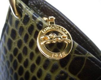 Long champ Embossed Brownish Green Leather Handbag