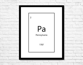 Pennsylvania Periodic Table Digital Download, Printable Wall Art, Home Decor, Printable Art, Wall Decor, Wall Art, Pittsburgh, Philadelphia