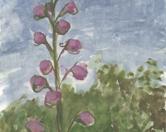 Light Purple Delphinium - original small watercolor painting on heavy archival paper, one of a kind - Irene Stapleford - wantknot shop