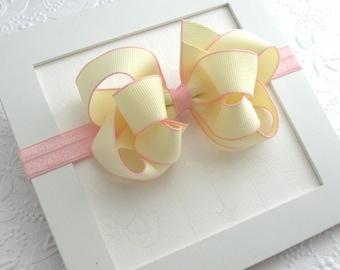 Baby Bow Headband, Pale Yellow Boutique Bow, Blush Headband, Newborn ~ Baby Girl ~ Infant ~ Girls Bow Headband