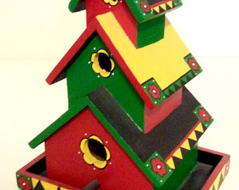 Hand painted pagoda style birdhouse