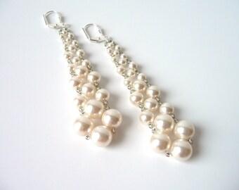 Bridal Wedding Jewelry, Swarovski Pearl Earrings, Dangle Earrings, Beaded Woven Jewelry Earrings, Mother of the Bride, Bridesmaid Jewelry