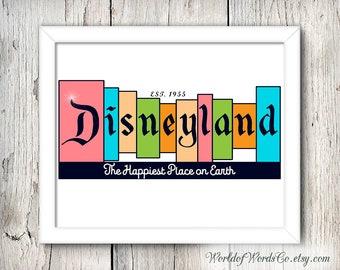 Disneyland Print, Disneyland Sign, Walt Disney, Disney Decor, Disneyland, Disney Print, Disneyland Poster, Vintage Disney, Happiest Place