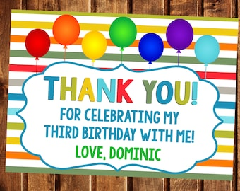 Colorful Thank You Tags, Colorful Gift Tags, Thank You Tags, Balloon Tags, Birthday Tags, Birthday Stickers, Balloon Thank you, Favor Tags