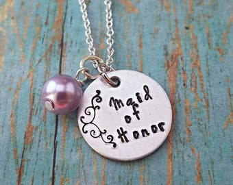 Maid of Honor - Maid of Honor Necklace - Wedding Jewelry - Maid of Honor Gift - Wedding Party - Gift for Maid of Honor - Wedding - Matron
