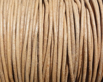 10 Yards 2mm Natural Leather Cord Round Undyed