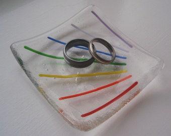 Rainbow Glass Trinket Bowl