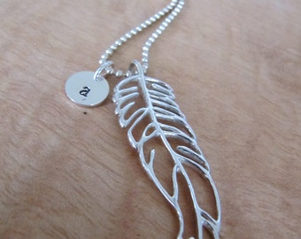 Bold Open Feather Necklace in Sterling Silver with -or w/o Monogram