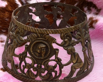 SALE>>>Shade, Bouillotte Rare Brass Lamp Shade with Pierced Cutouts...Antique, Very Ornate and Interesting!!!