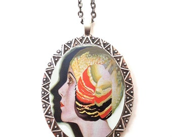 Flapper Profile Necklace Pendant Silver Tone - Art Deco 1920's Jazz Age Illustration Roaring 20s